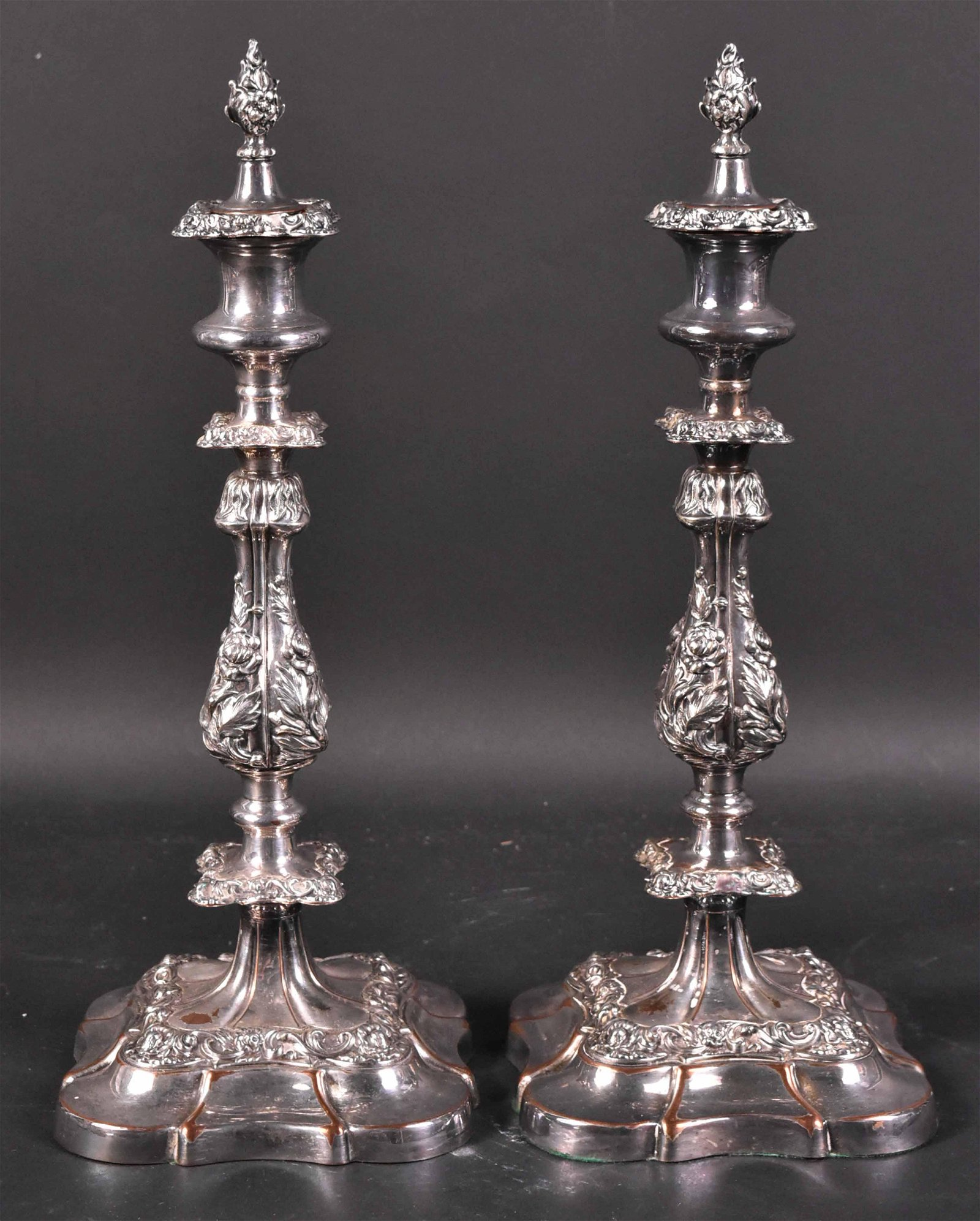 Pair of Silver Plated Candlesticks with Finials