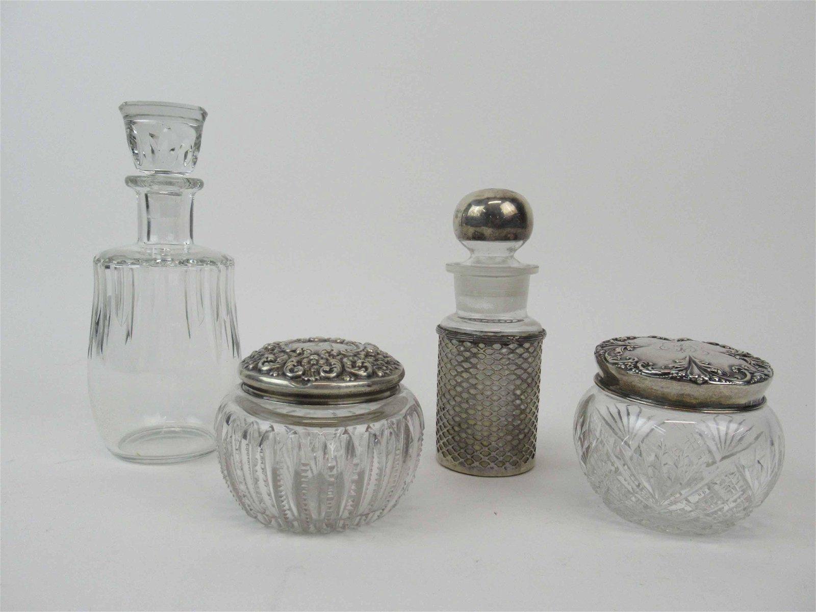 Two Sterling Silver Lidded Cut Glass Dresser Jars