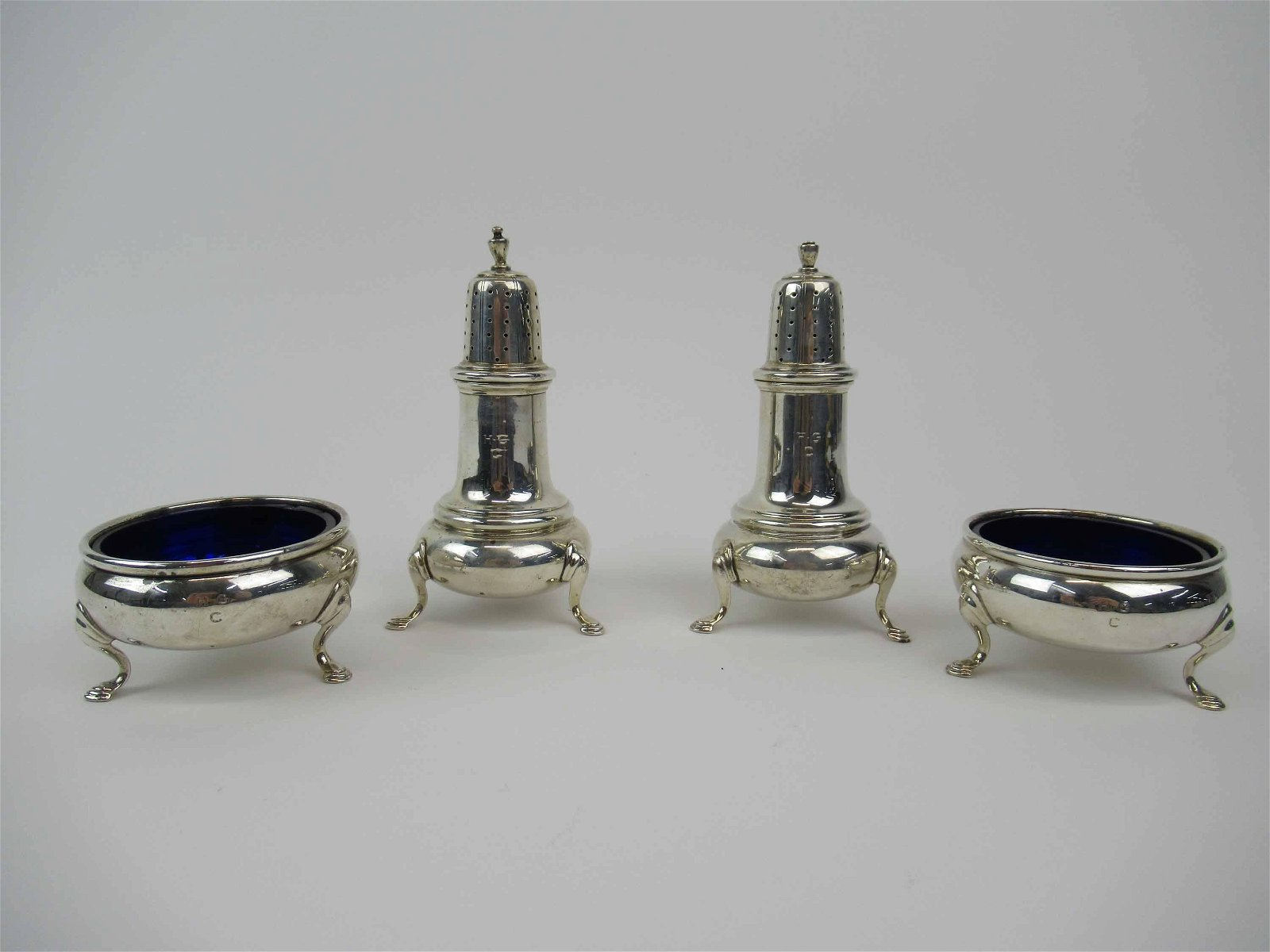 2 Pair of Sterling Silver Master Salt and Pepper
