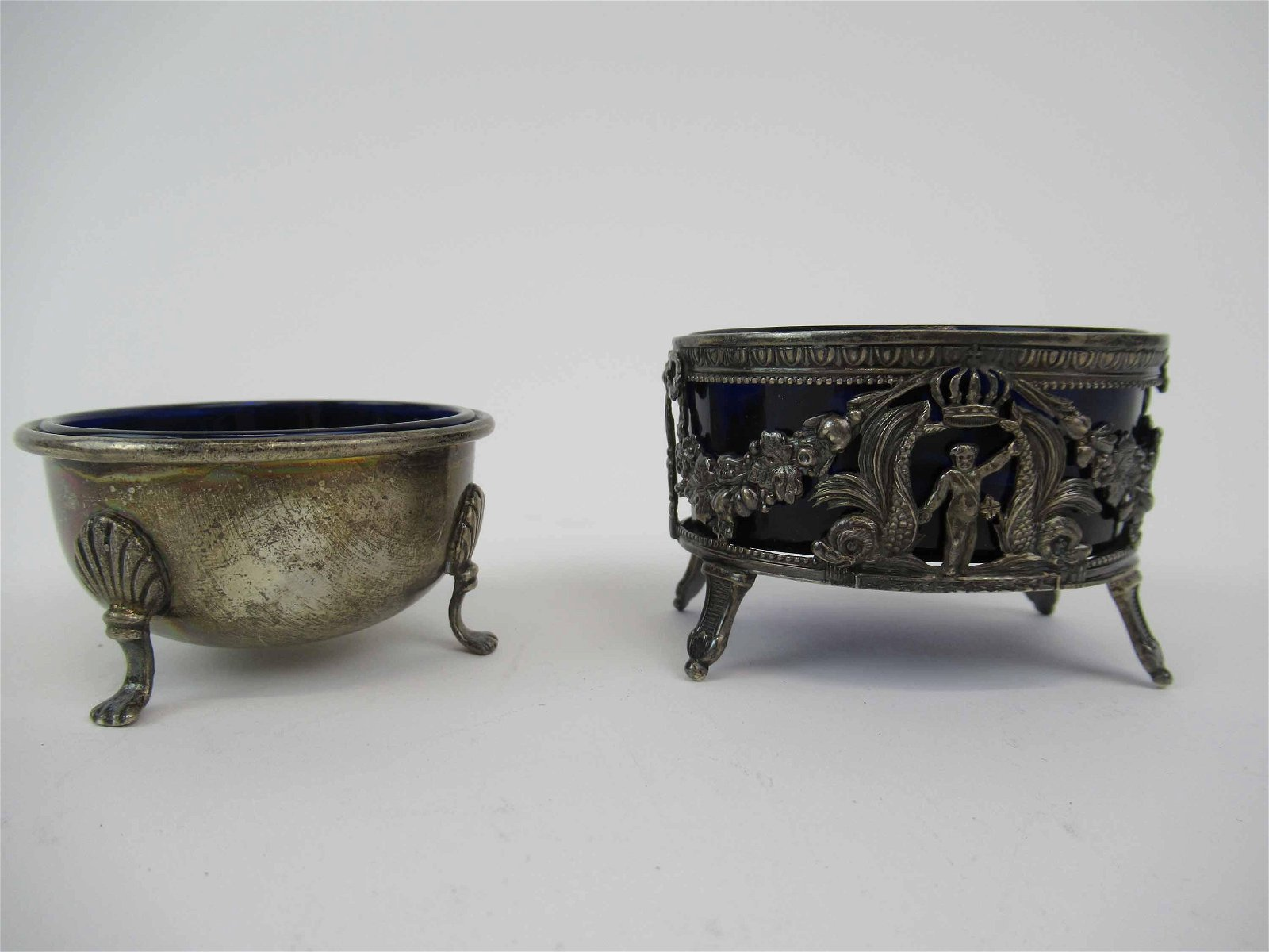 Two Silver Master Salts with Cobal Glass Inserts
