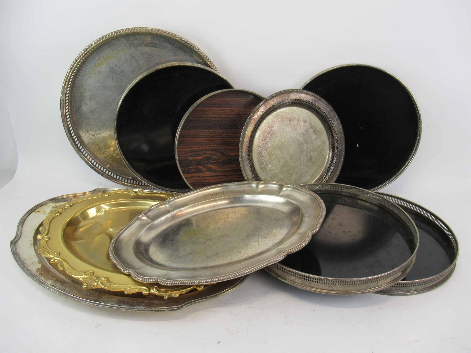 Group of 10 Assorted Silver Plated Serving Trays