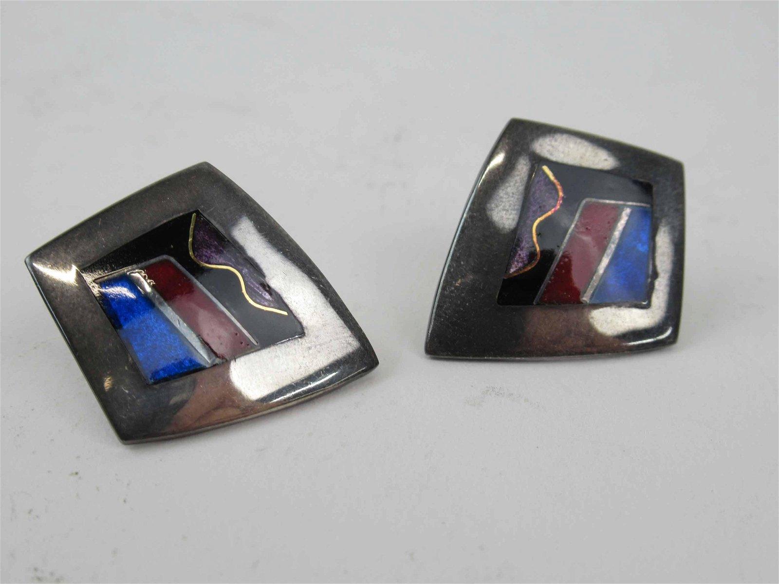 Pair of Studio Sterling Silver & Enamel Earrings
