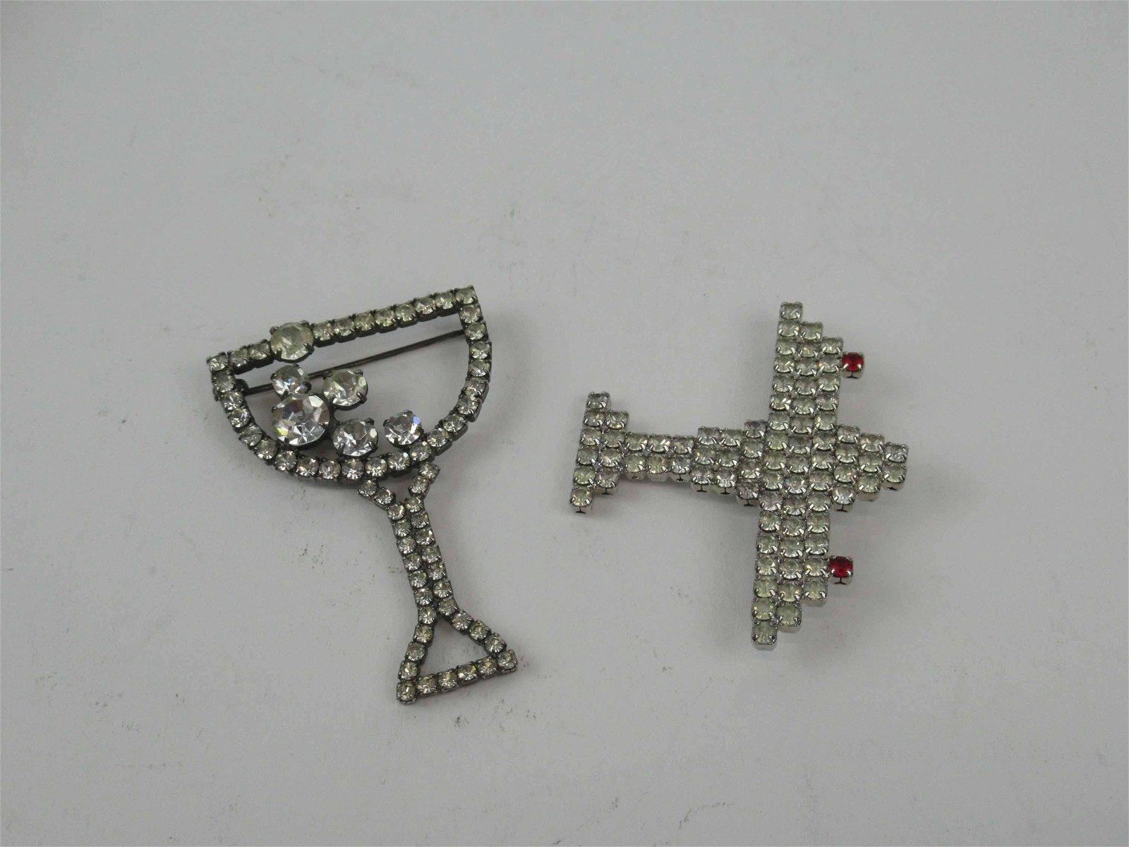 Two Vintage Dorothy Bauer Rhinestone Pins