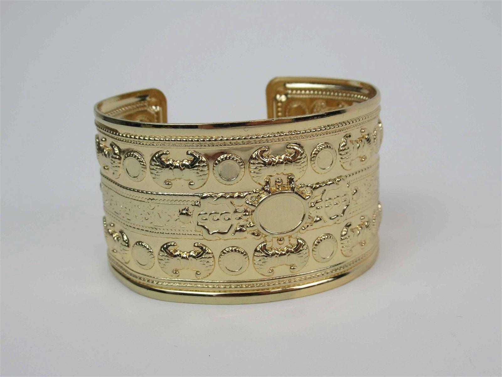 Victorian Style Pressed Metal Wide Cuff Bracelet