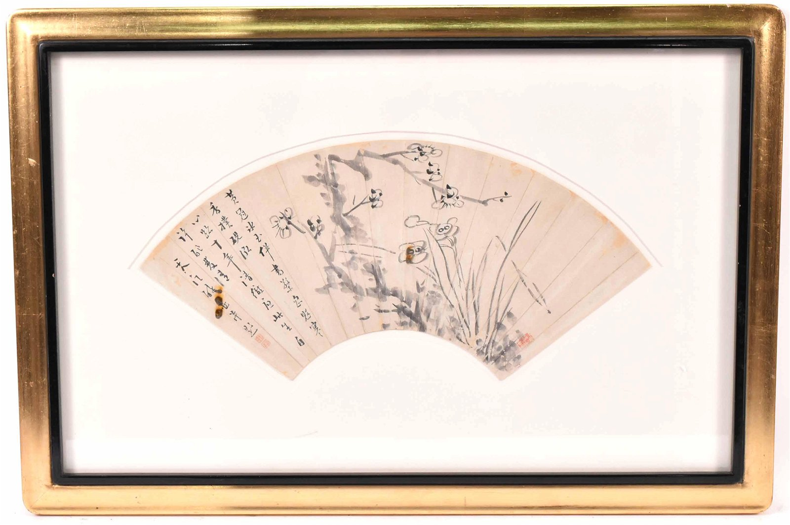 Ink on Paper Flowering Plum Blossoms Fan Painting
