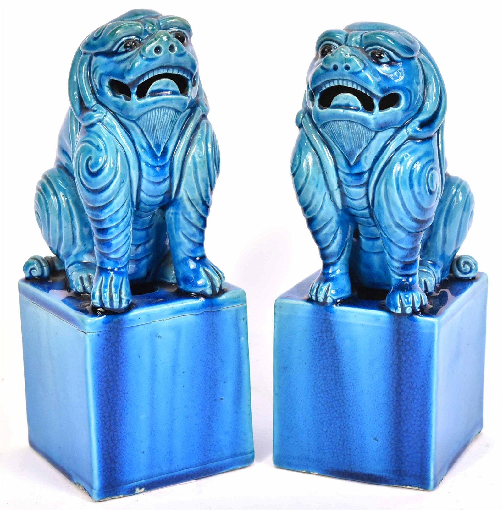 Pair of Chinese Blue-Glazed Ceramic Fu Dogs