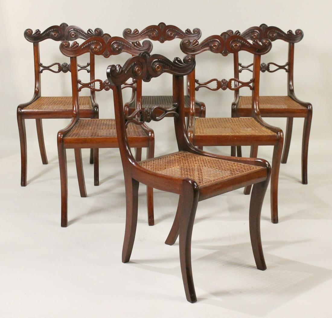 Six Regency Mahogany Caned Seat Side Chairs