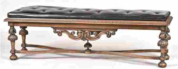 Baroque Style Walnut Upholstered Tufted Bench