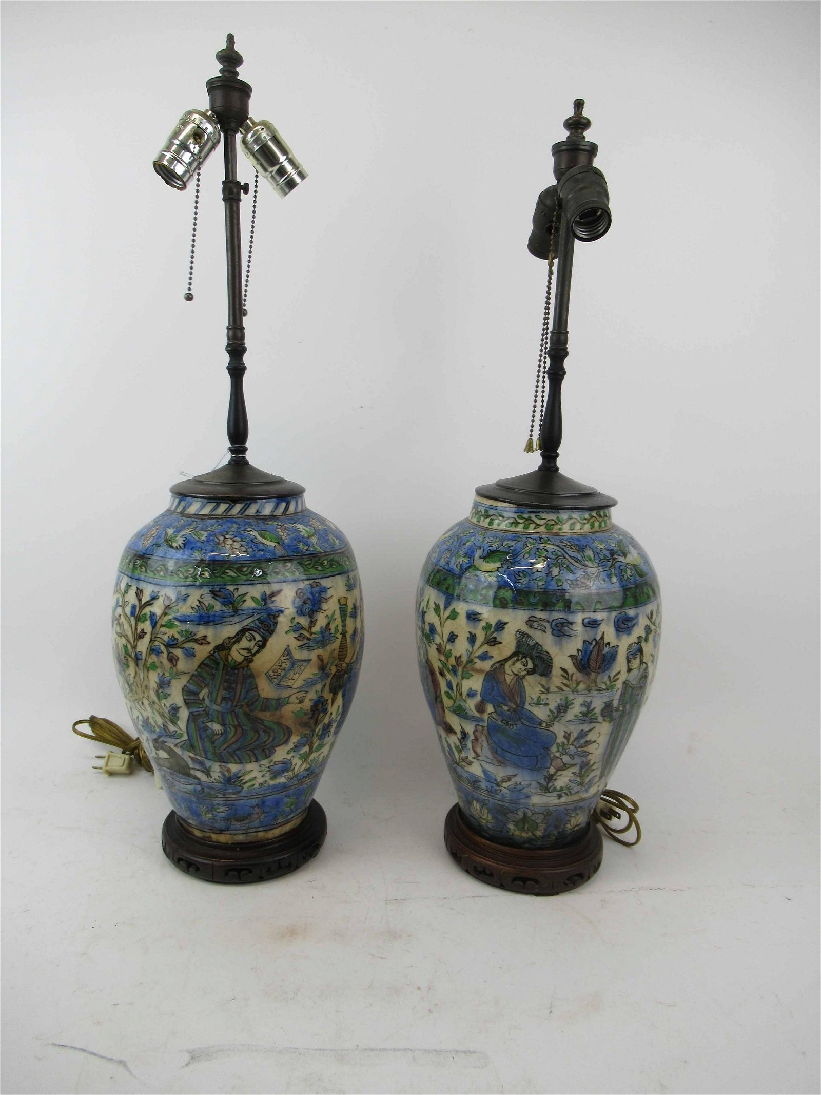 Pair of Persian Decorated Polychrome Vases