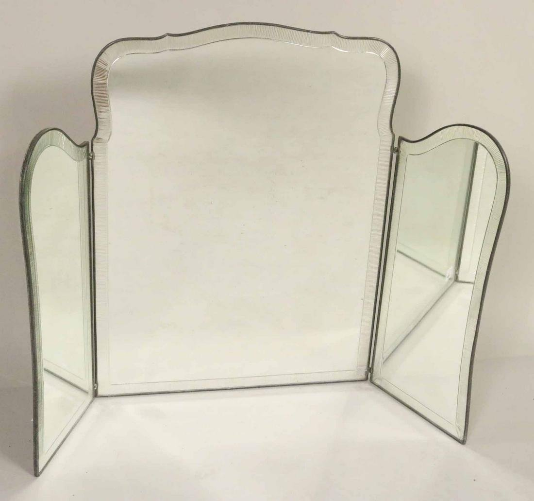 Modern Silver Gilt Three Part Folding Mirror
