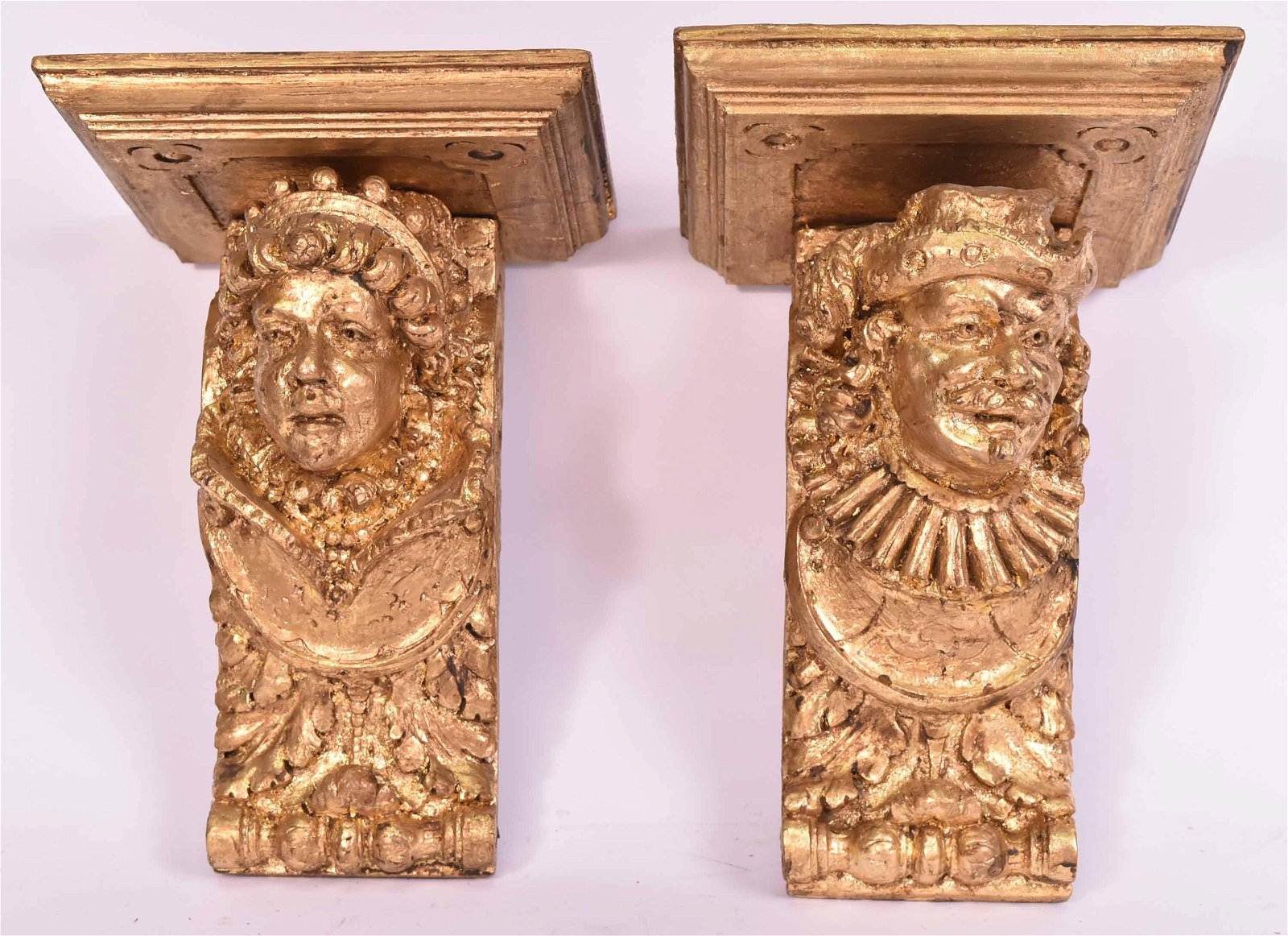Pair of Rococo Style Giltwood Wall Brackets