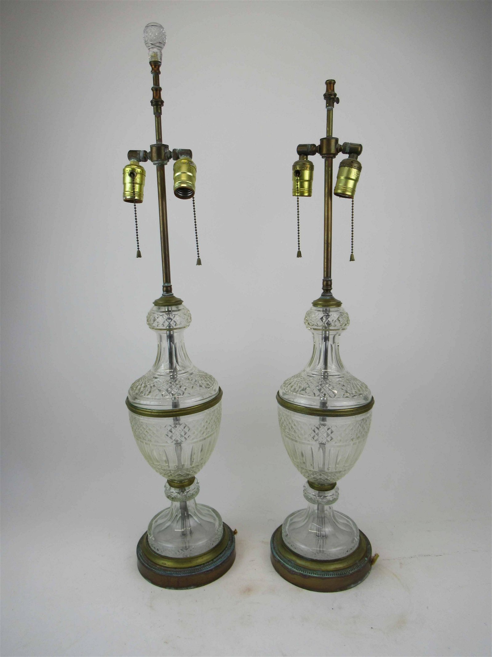 Antique Pair Of French Bronze Crystal Table Lamps