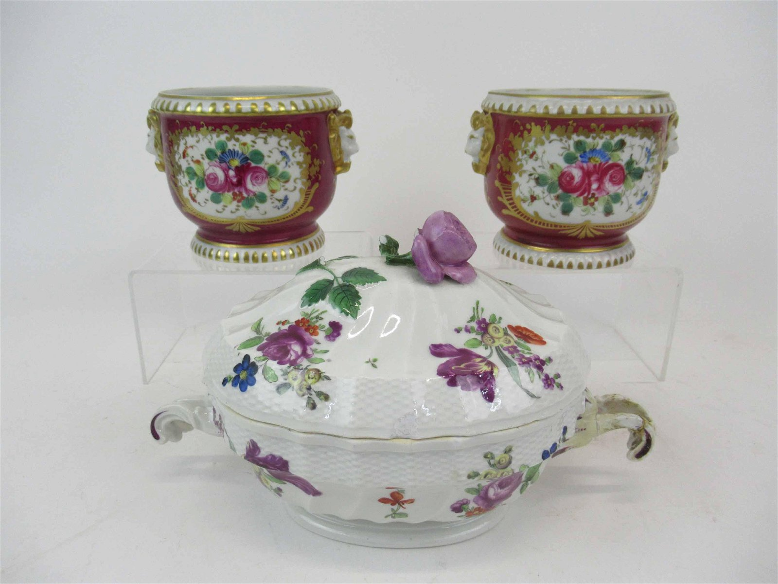 Pair of French Porcelain Hand Painted Cache Pots