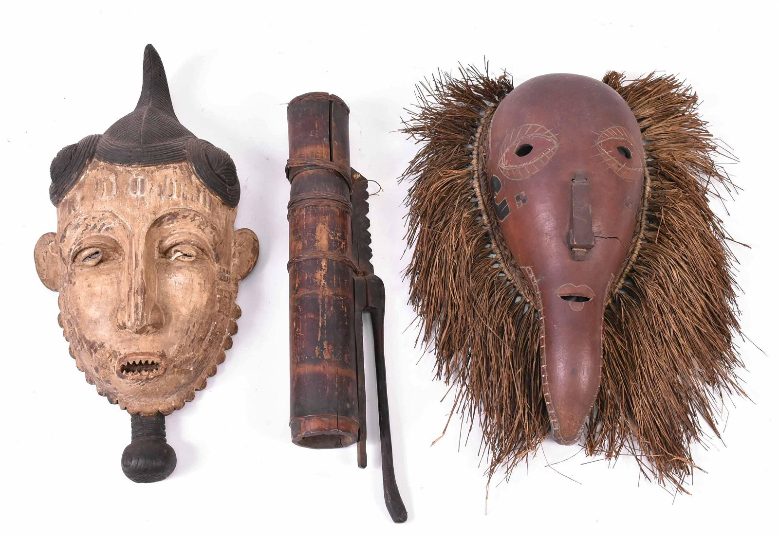 Two African Masks and a Set of Arrows