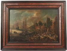 Oil on Canvas, Dutch Harbor Scene