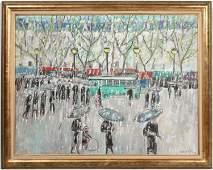 Oil on Canvas, Figures in Street, Robert Savary