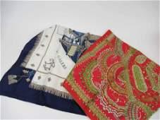 Two Vintage Hermes Silk Scarfs