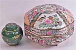 Chinese Rose Medallion Porcelain Covered Box