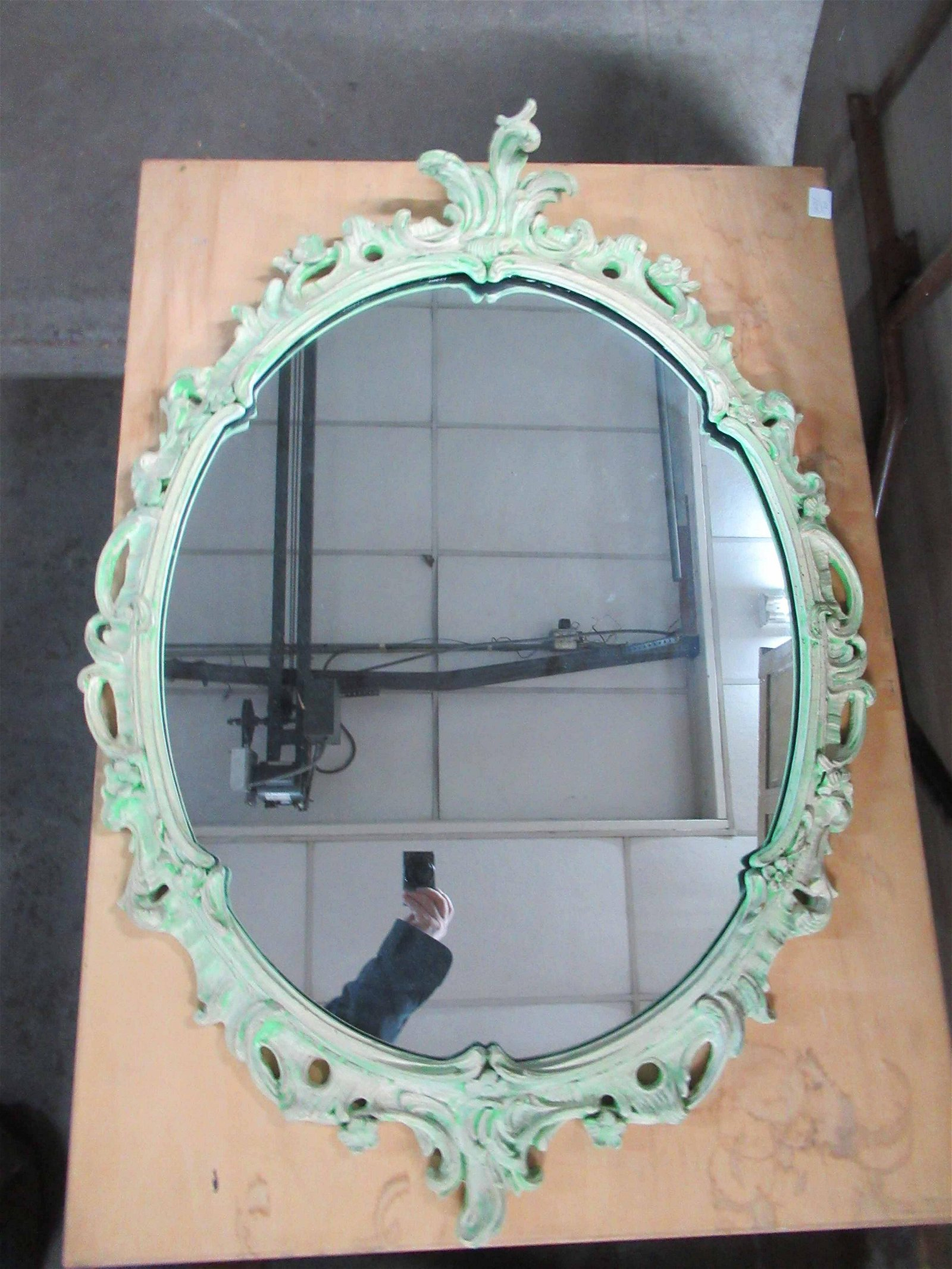 Italian Style Carved Wood Oval Wall Mirror