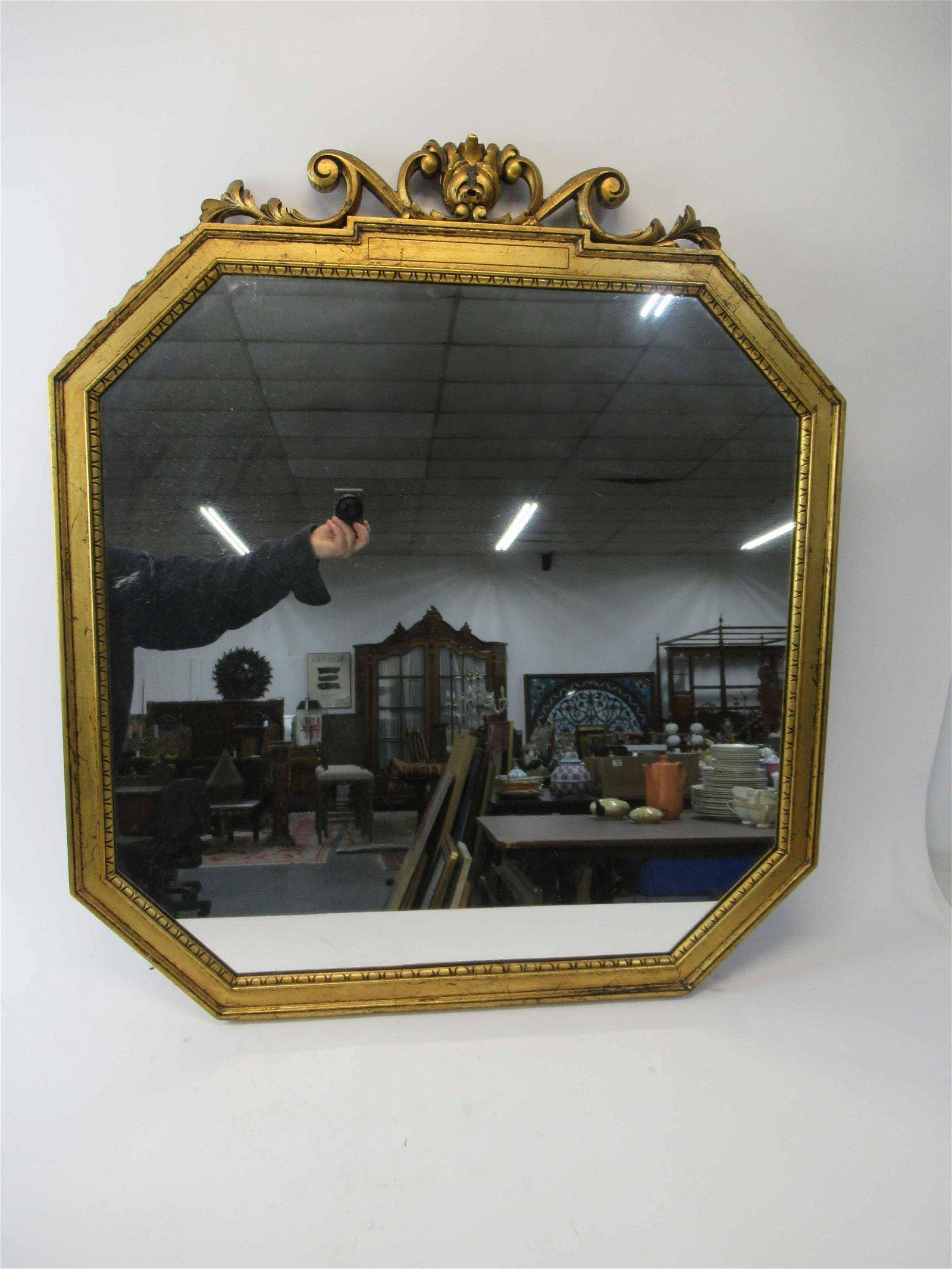 Giltwood Octagonal Form Hanging Wall Mirror
