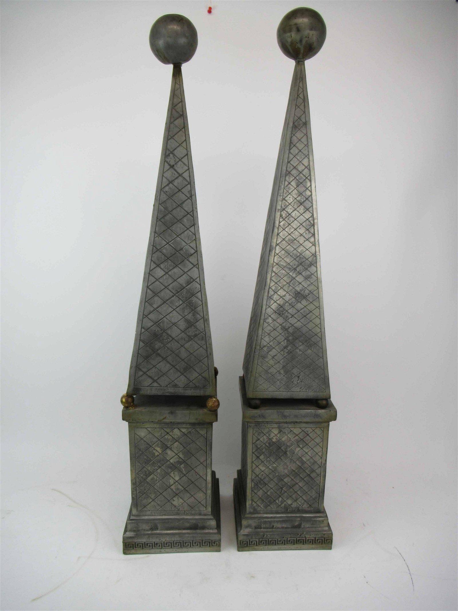 Pair of Metal Garden Obelisks