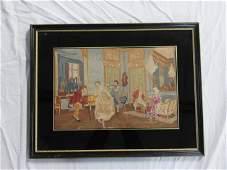 Vintage Needlework of Interior Scene