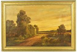 Oil on Canvas, Pastoral Scene with Barn
