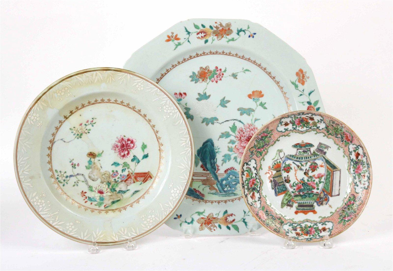 Three Chinese Porcelain Rose Medallion Plates