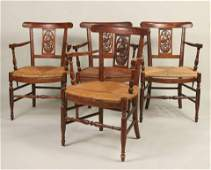 Four Provincial Walnut Rush-Seat Armchairs