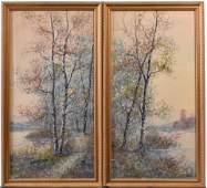 Diptych Watercolor Birch Trees Raphael Senseman