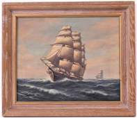 Oil on Canvas Clipper Ship, William Paskell