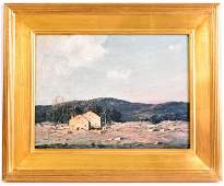 Oil on Canvas George Bruestle Cloudy Landscape