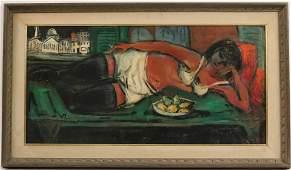Oil on Canvas, Reclining Woman, Nichola Takis