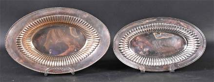 Two American Sterling Silver Oval Bread Trays