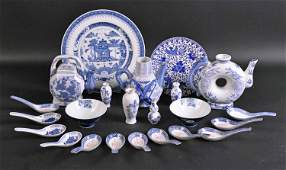 Group of Chinese Blue and White Table Articles