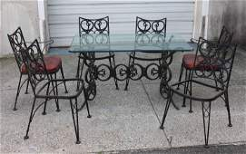 Vintage Black Painted Wrought Iron Patio Set