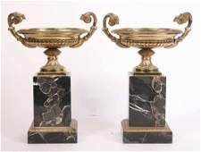 Pair of Italian Neoclassical Style Brass Tazzas