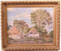Oil on Canvas, Farm Buildings, H. Koi