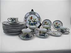 Set Of Garofano Faiance Blue Carnation Pottery