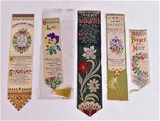 Four T. Stevens, Silk Stevengraph Bookmarks