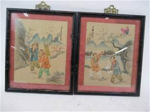 Pair of Asian Paintings on Fabric