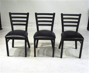 Three Ebonized Metal Upholstered Side Chairs