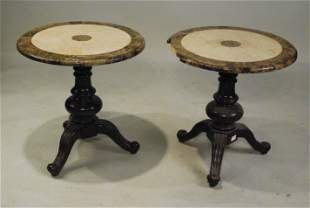 Pair of StoneTop Circular Side Tables
