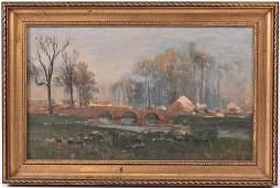Oil on Canvas Stone Arch Bridge Eugene Smythe