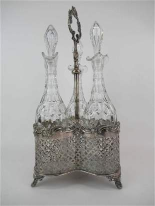 Antique Silver Plate and Cut Glass Decanter Stand