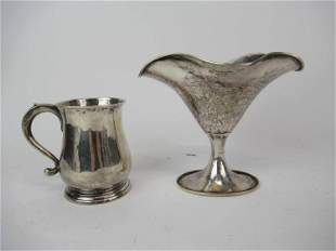 800 Silver Weighted Vase and Handled Cup