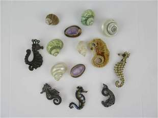 3 Assorted Sterling Silver Seahorse Brooch Pins