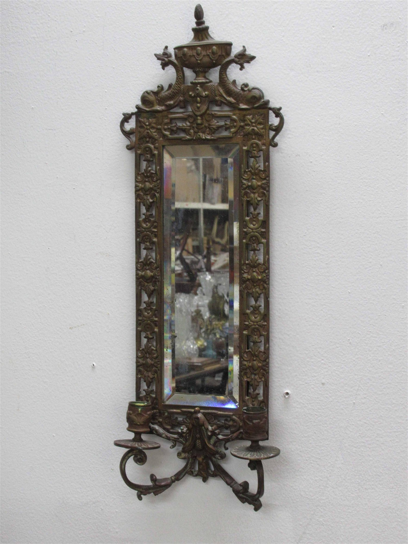Neoclassical Style Two Light Mirrored Wall Sconce