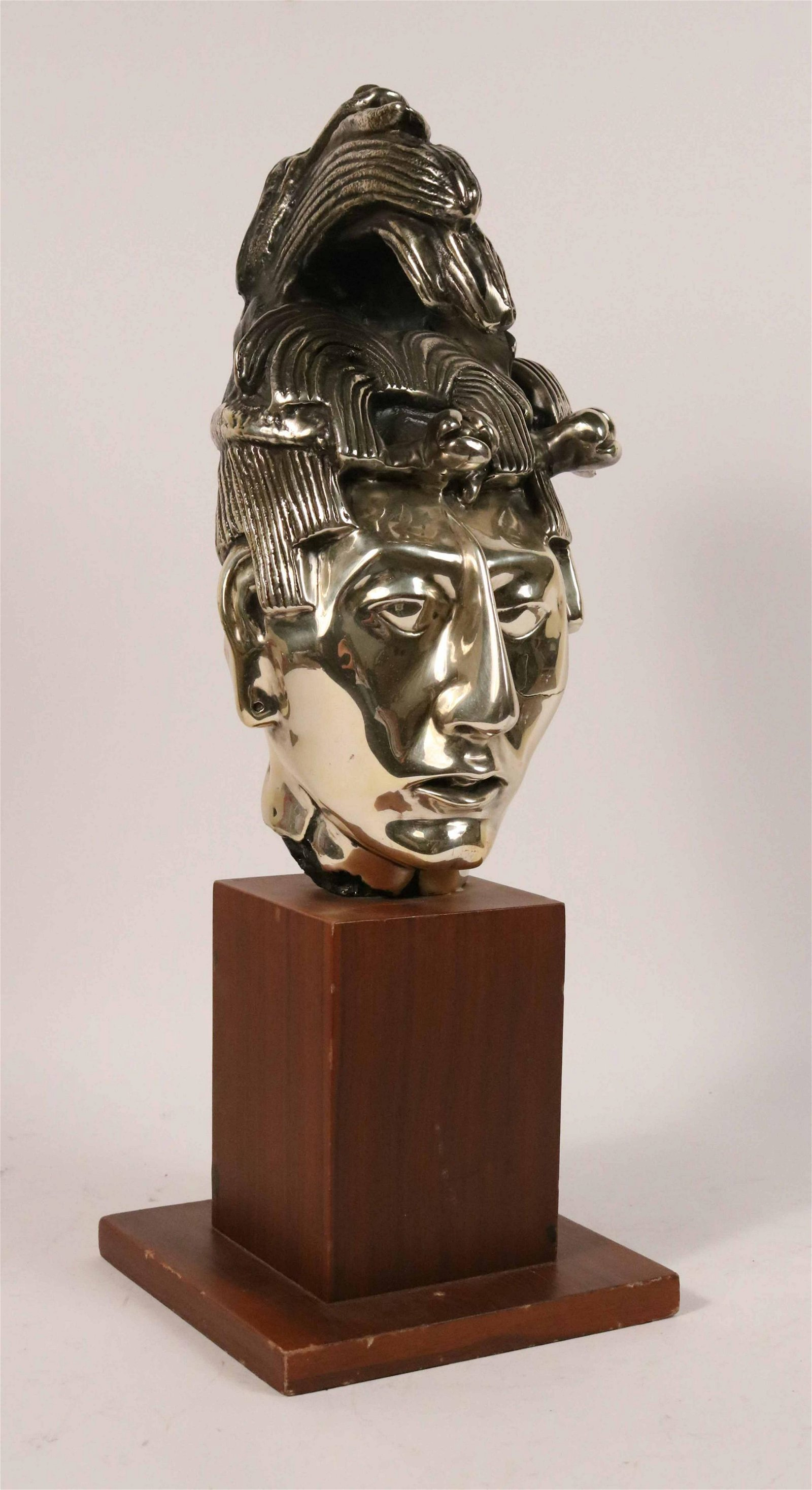 Silver Plated Bust of a South American Man