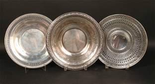 Three Sterling Silver Circular Serving Pieces